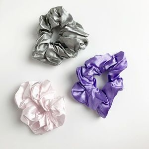 Satin Scrunchies pastel colors, pink, purple, grey